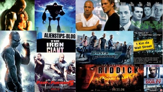 TOP 10 Best Vin Diesel Movies, Ranked aliens tips 1. The Iron Giant (1999) 2. Furious 7 (2015) 3. Fast Five (2011) 4. Pitch Black (2000) 5. The Fast and the Furious (2001) 6. Guardians of the Galaxy (2014) 7. xXx (2002) 8. Find Me Guilty (2006) 9. Boiler Room (2000) 10. The Chronicles of Riddick (2004) aliens tips 1. The Iron Giant (1999) 2. Furious 7 (2015) 3. Fast Five (2011) 4. Pitch Black (2000) 5. The Fast and the Furious (2001) 6. Guardians of the Galaxy (2014) 7. xXx (2002) 8. Find Me Guilty (2006) 9. Boiler Room (2000) 10. The Chronicles of Riddick (2004)